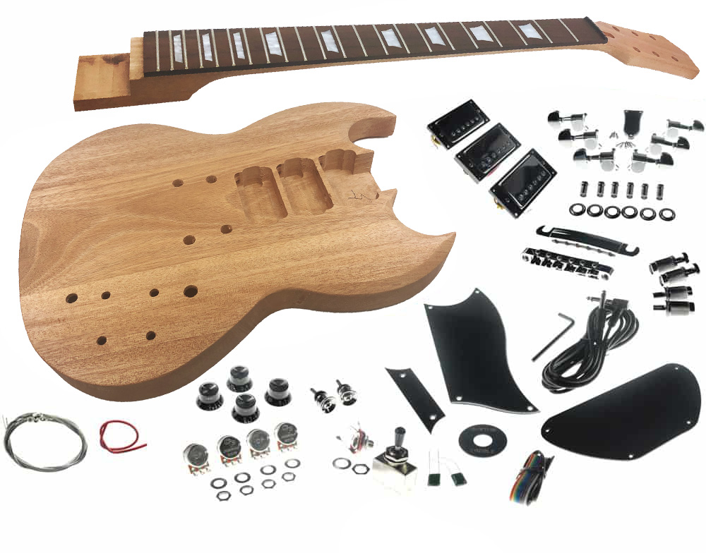 solo sg style diy guitar kit basswood body set neck 3 pick ups. Black Bedroom Furniture Sets. Home Design Ideas