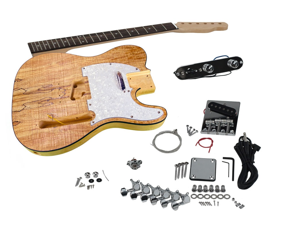 solo tc style diy guitar kit basswood body with spalted maple top solo music gear. Black Bedroom Furniture Sets. Home Design Ideas
