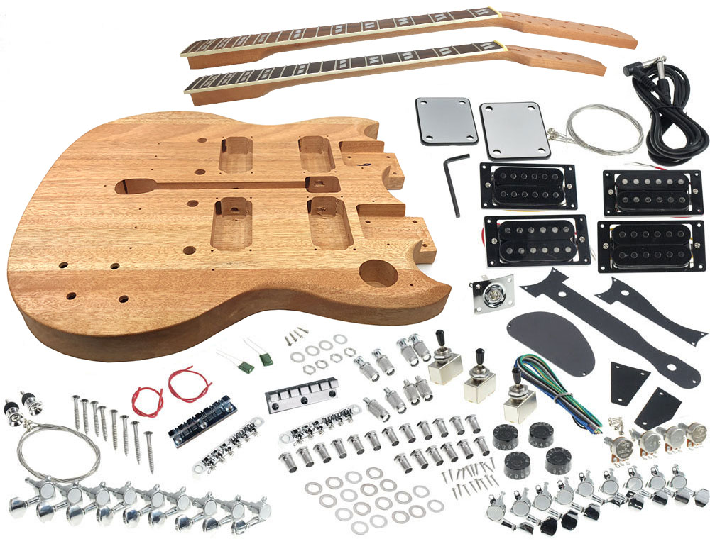 solo dsgk 10 diy double neck electric guitar kit solo music gear. Black Bedroom Furniture Sets. Home Design Ideas