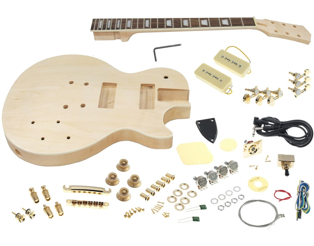 Solo Lp Style Guitar Kit Carved Body Set Neck Solo