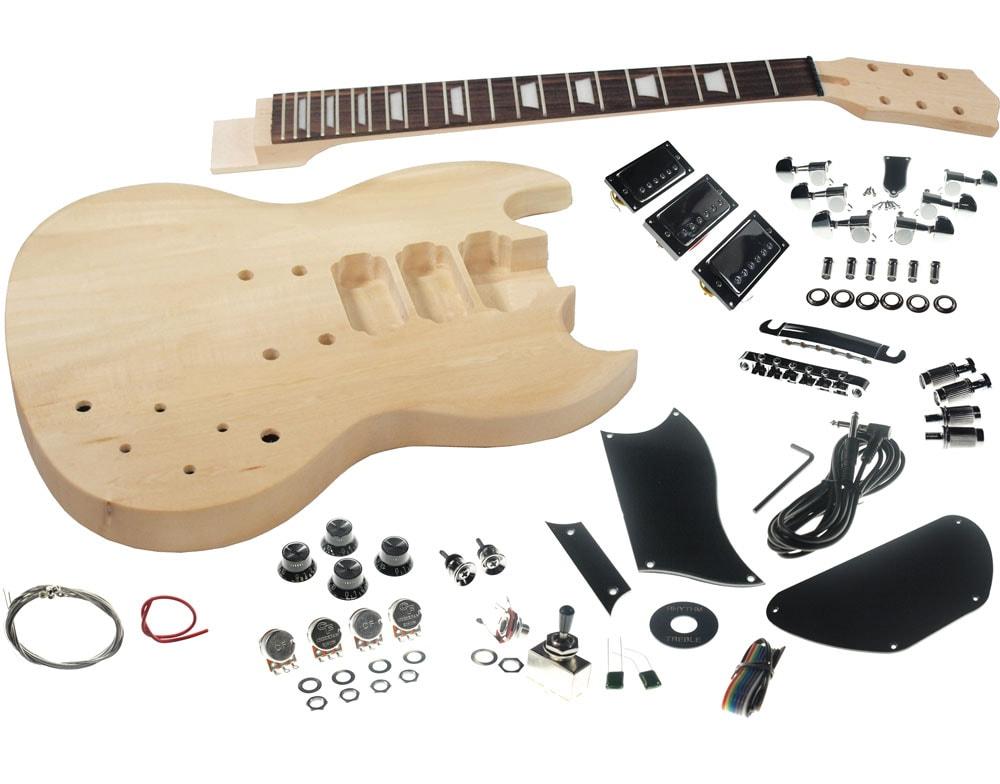 SGK 30 solo sg style diy guitar kit, basswood body, set neck, 3 pick ups