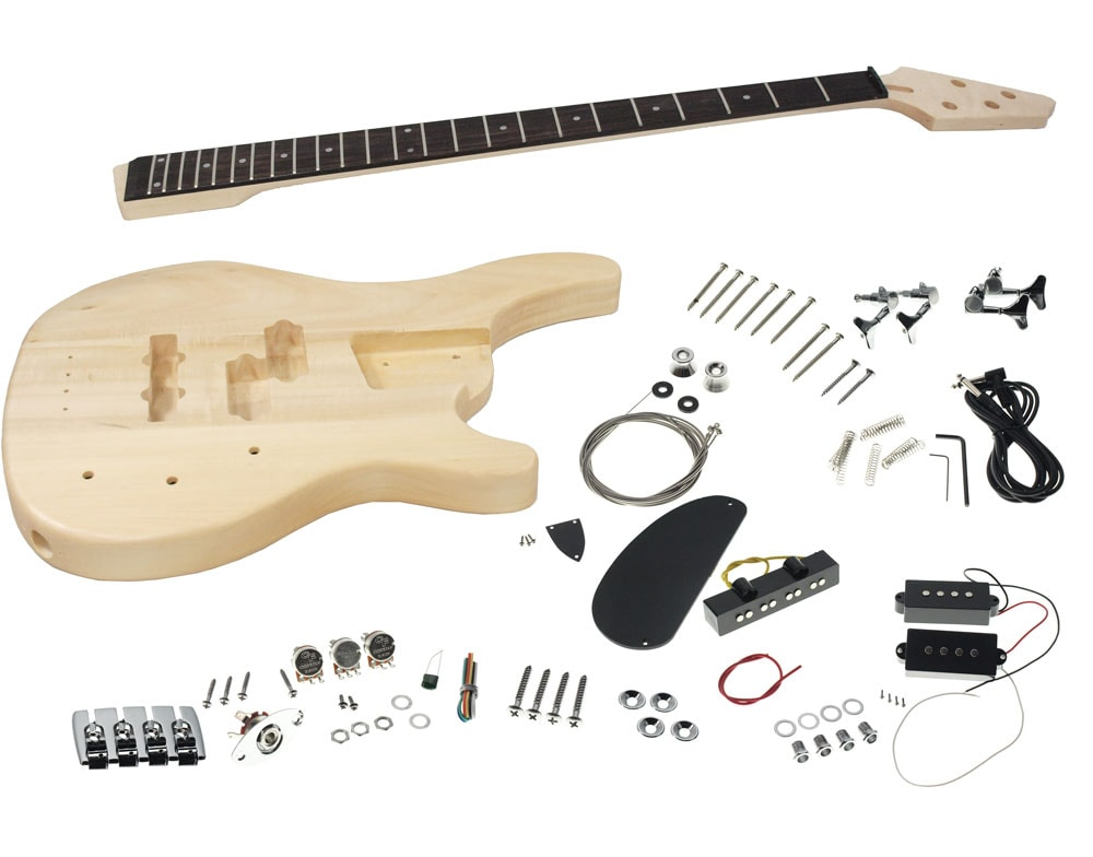 solo sr style diy bass guitar kit basswood body pj pickups solo music gear. Black Bedroom Furniture Sets. Home Design Ideas