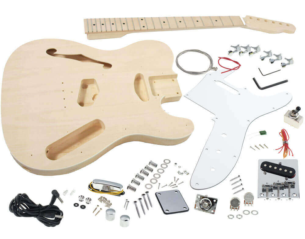 Solo tc style diy guitar kit semi hollow maple top maple neck telecaster guitar kit b stock diy guitar kits solutioingenieria Gallery
