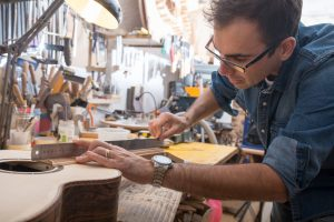 One luthier working on his next guitar