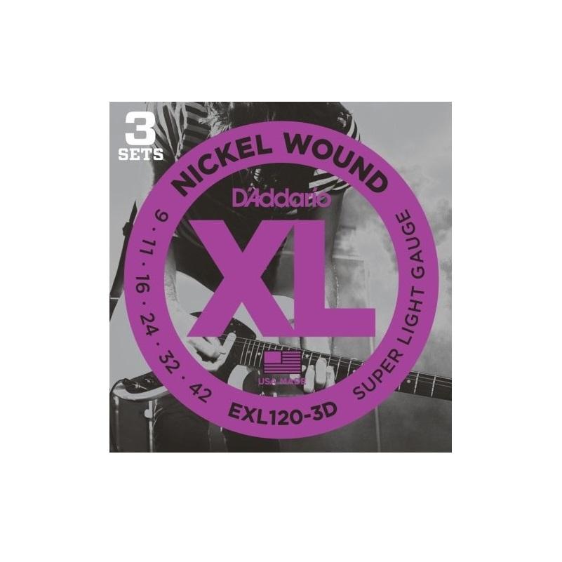 D Addario Exl120 3d Nickel Wound Electric Guitar Strings