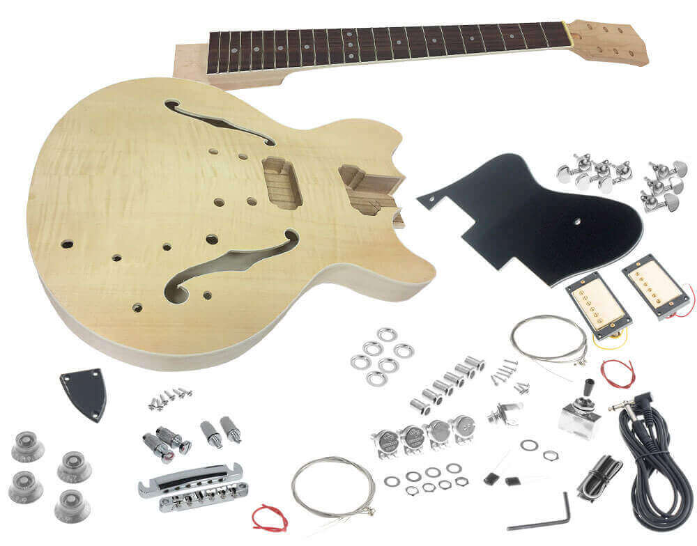 solo esk 35 diy electric guitar kit with flame maple top solo music gear. Black Bedroom Furniture Sets. Home Design Ideas