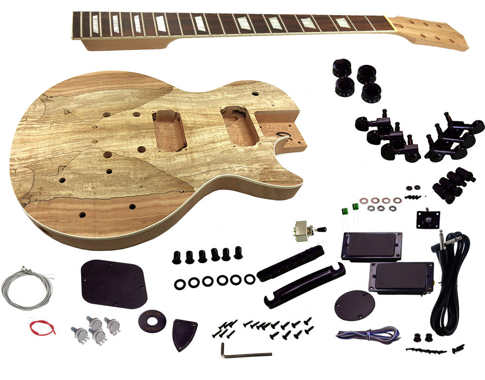 solo lp and unfinished style diy guitar kit mahogany body spalted maple top solo music gear. Black Bedroom Furniture Sets. Home Design Ideas
