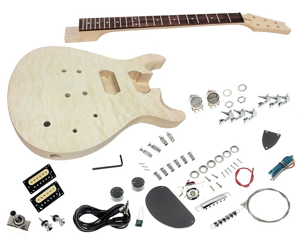Solo Prs Style Diy Guitar Kit Carved Body With Quilted