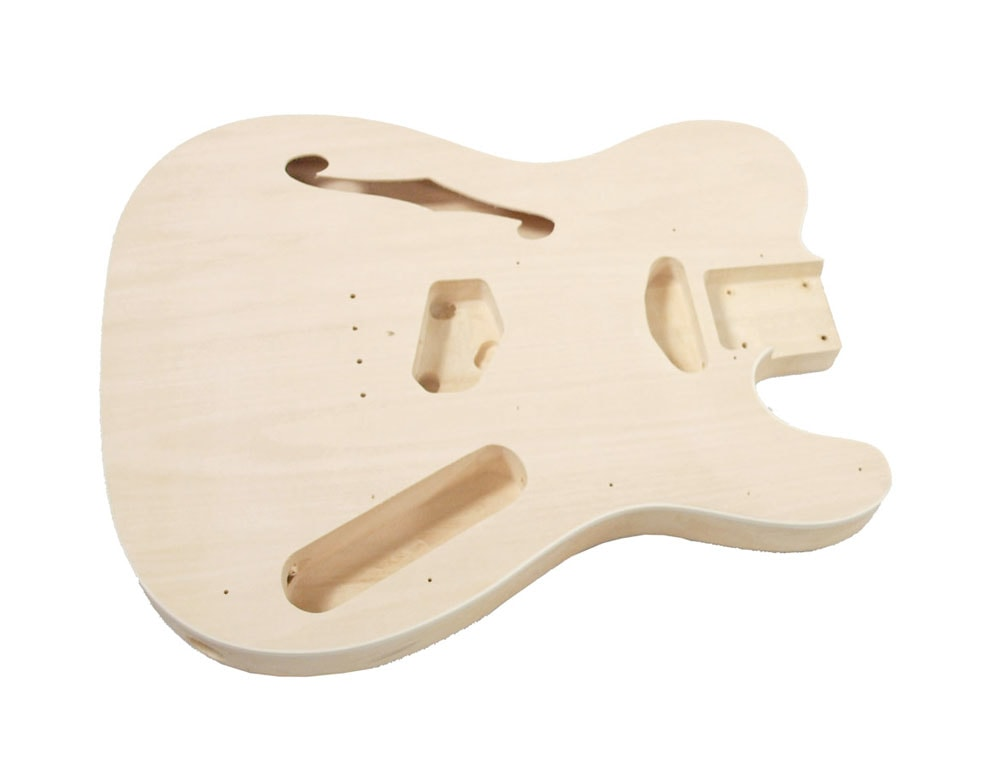 Solo Tele Style Guitar Body Semi Hollow Maple Top