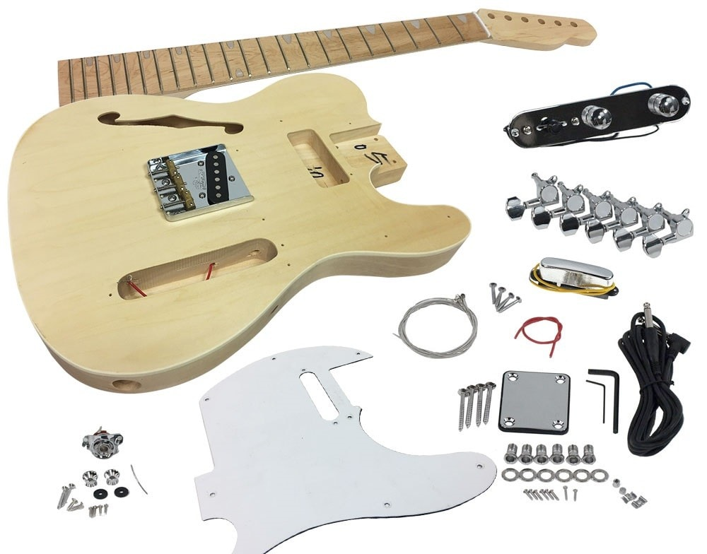 Solo Tele 69 Style Diy Guitar Kit Semi Hollow Body Maple