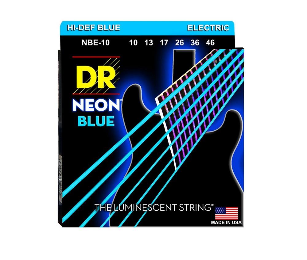 DR Strings NBE-10 Neon Hi-Def Blue Coated Medium Electric Guitar Strings 10-46