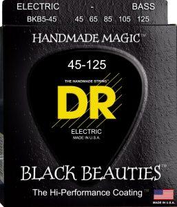 DR Strings BKB5-45 5-String Medium Black Beauties Electric Bass Guitar Strings