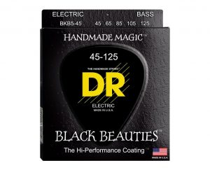 DR Strings BKB5-45 5-String Medium Black Beauties Electric Bass Guitar Strings