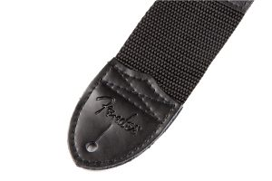 "Fender® 2"" Black Poly Strap with White Fender® Logo"