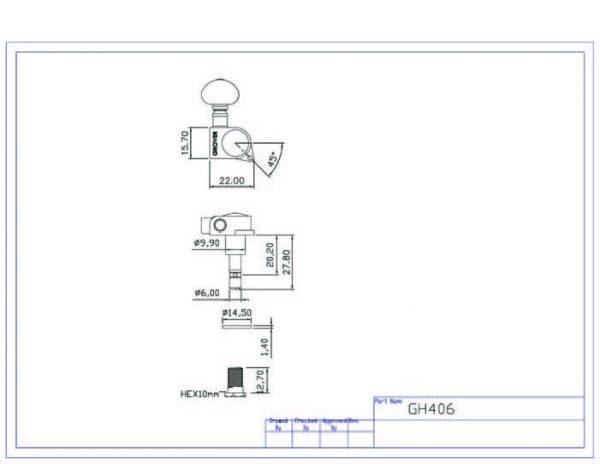 Grover 406C6 Rotomatic Mini 6 in Line Self Locking Machine Heads