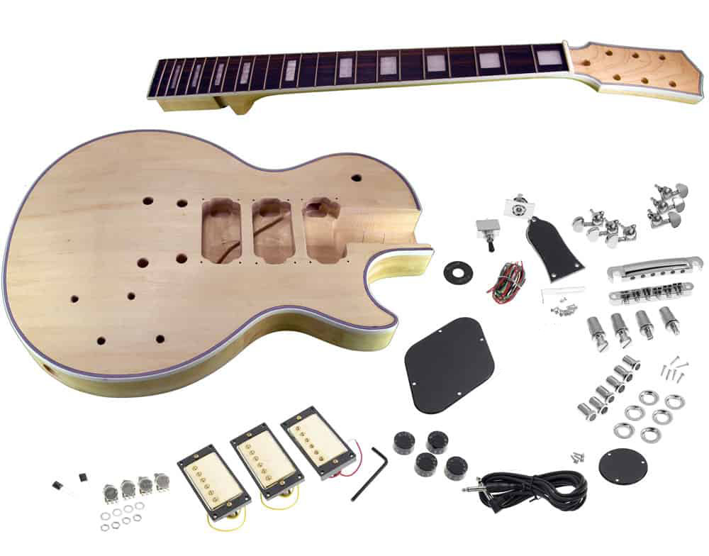 solo lp les paul style diy guitar kit carved body with maple top 3 pickups solo music gear. Black Bedroom Furniture Sets. Home Design Ideas