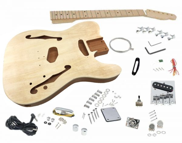 Solo TCK-150 DIY Semi Hollow Electric Guitar Kit With Maple Top