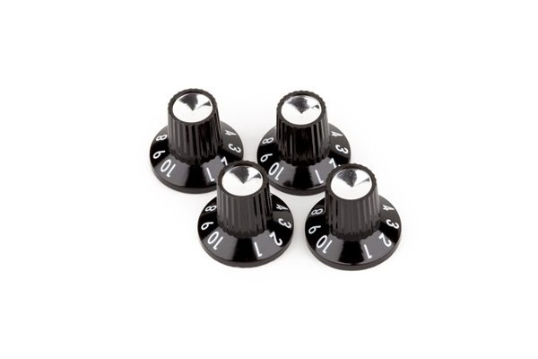 Fender® Black-Silver Skirted On Amplifier Knobs