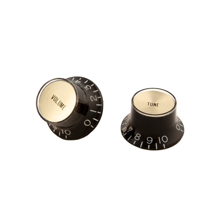 gibson top hat style knobs w metal insert black w gold solo guitars. Black Bedroom Furniture Sets. Home Design Ideas