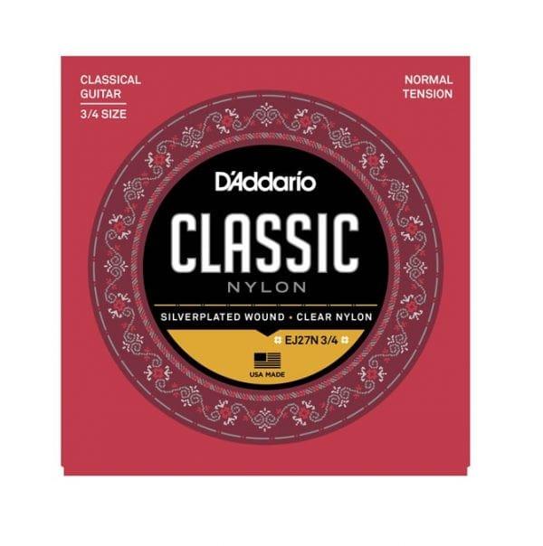 D'Addario EJ27N 3/4 Silverplated Wound Clear Nylon Classical Guitar Strings