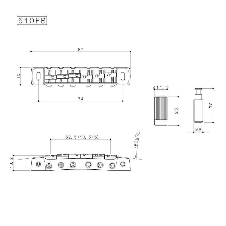 Gotoh 510fb Tune O Matic Style Guitar Bridge With Stud Lock Solo