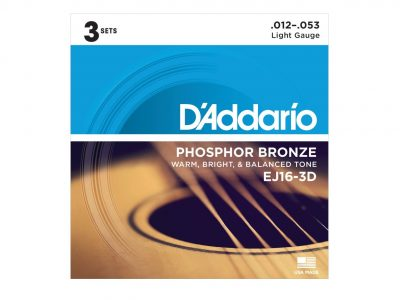 D'Addario EJ16 Phosphor Bronze Acoustic Guitar Strings, Light, 12-53 - 3 pack