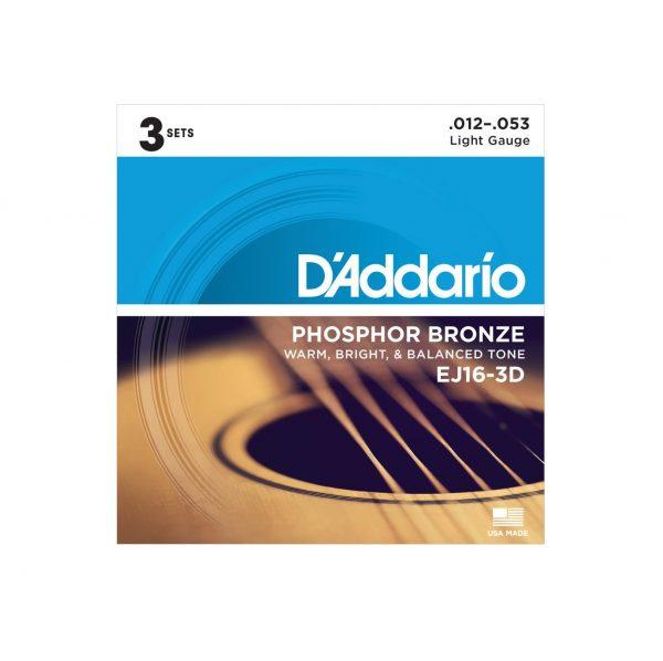 D'Addario EJ16 Phosphor Bronze Acoustic Guitar Strings, Light, 12-53 - 3 pack