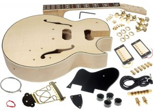 Solo ES Style DIY Guitar Kit, Maple Body, Flamed Maple Top