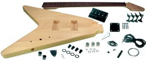 Solo FV Style DIY Bass Guitar Kit, Basswood Body, Maple Neck Rosewood FB