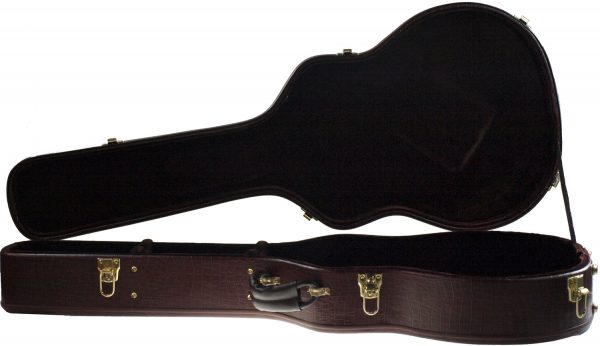 Solo Archtop Style Hardshell Guitar Case, Brown Faux Gatorskin