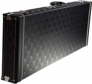 Solo Large Hardshell Electric Guitar Case, Black Skulls