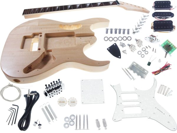 Solo JEM Style DIY Guitar Kit, Basswood Body, Maple Neck