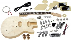 Solo LP Style DIY Guitar Kit, Carved Basswood Body, Flame Maple Top