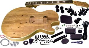 Solo LP Style DIY Guitar Kit, Carved Mahogany Body, Spalted Maple Top