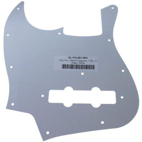 Solo Pro J Bass 1-Ply Pickguard, 11 Holes, White