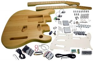 Solo Strat / Tele Style DIY Guitar Kit, Double Neck Basswood Body
