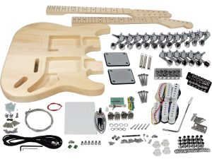 Solo ST Style DIY Guitar Kit, Double Neck, Basswood Body, Maple FB