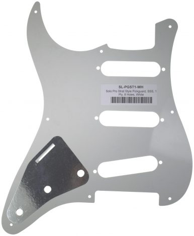 Solo Pro 1-Ply Strat Style Pickguard, 8 Holes, White