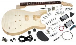 Solo PR Style DIY Guitar Kit, Carved Body with Flame Maple Top