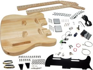 Solo Tele Style DIY Guitar Kit, Double Neck, Basswood Body, Maple FB