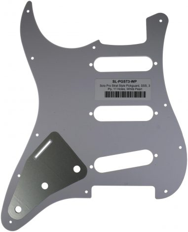 Solo Pro Strat Style 3-Ply Pickguard, 11 Holes, White Pearl