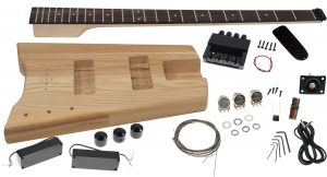 Solo SB Style DIY Headless Bass Guitar Kit, Ash Body, Set Neck