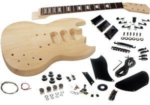 Solo SG Style DIY Guitar Kit, Basswood Body, Set Neck, 3 Pick Ups
