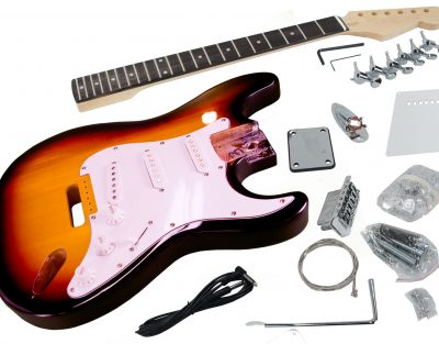 Solo ST Style DIY Guitar Kit, Finished Basswood Body, Sunburst