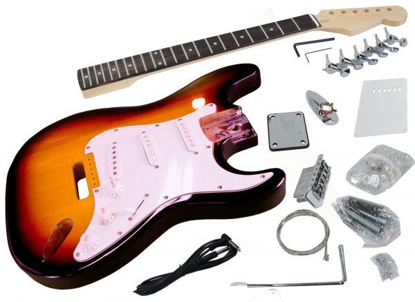 Solo ST Style DIY Guitar Kit, Finished Basswood Body, Sunburst