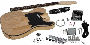 Solo Tele Style DIY Guitar Kit, Basswood Body, Ash Burl Top