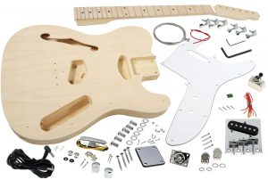 Solo Tele Style DIY Guitar Kit, Semi Hollow Basswood Body, Maple FB
