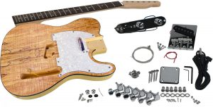Solo Tele Style DIY Guitar Kit, Basswood Body with Spalted Maple Top
