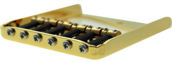 Solo Pro Tele Vintage Style Guitar Bridge, Barrel Saddles, Gold