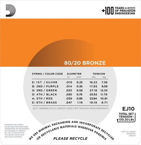 DAddario EJ10 Bronze Acoustic Guitar